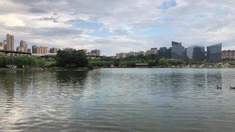 Panorama of Qujianchi park in Xian, China