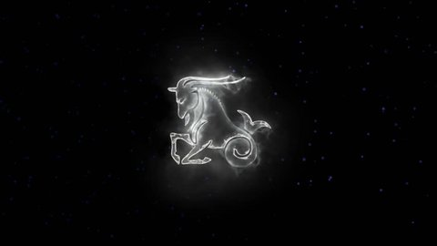 Zodiac sign Capricorn and beautiful background for presentations, video intro, horoscope, films, transition, titles and much more