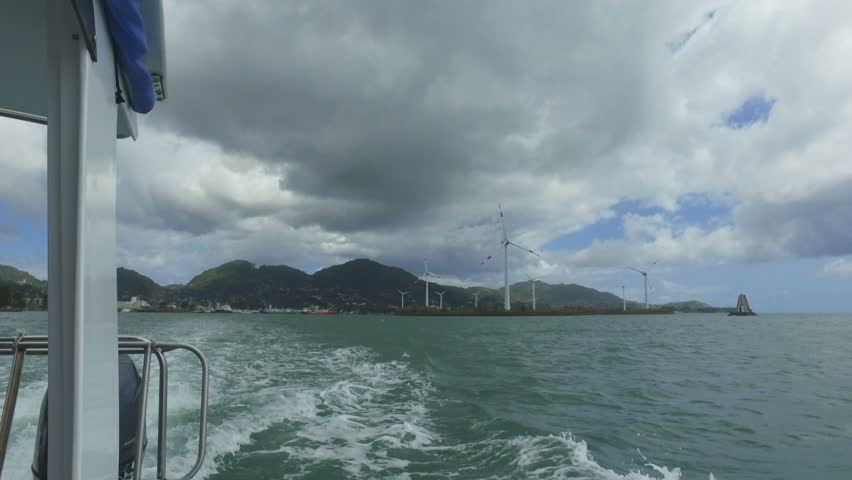 View Of Windmills And Mountains from the Boat, Mahe Island, Seychelles
