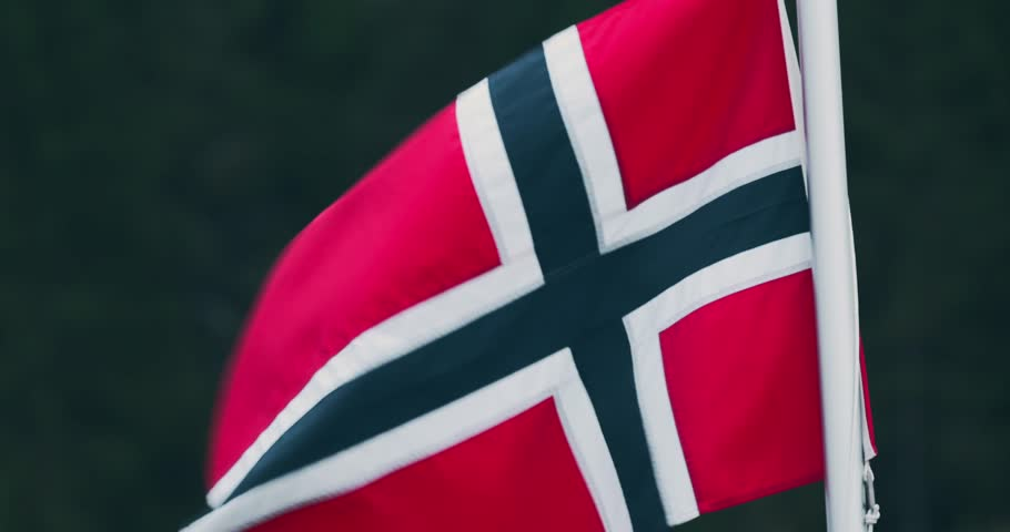 Norwegian Flag, CloseUp. Graded and stabilized version. Watch also for the native material, straight out of the camera or the untouched and stabilized version.