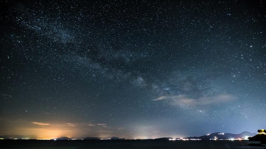 Milky Way timelapse saw from the beach in Corfu, Greece