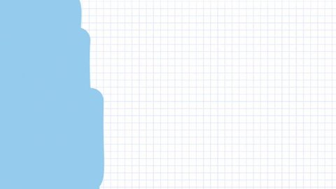 Animated video transition covering painting drawing light blue over white lined graph paper
