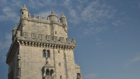 Time lapse of Belem tower at the bank of Tejo River in Lisbon - Portugal.