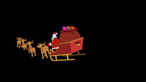 Santa Claus is flying in his Christmas sleigh 2 Hand drawn animation Full HD with alpha channel