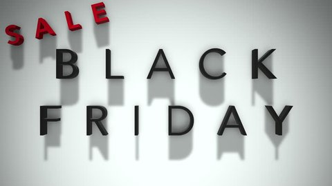 Black Friday Sale 3D Text Looping Animation, Shadows On A White Background - 4K Resolution Ultra HD
