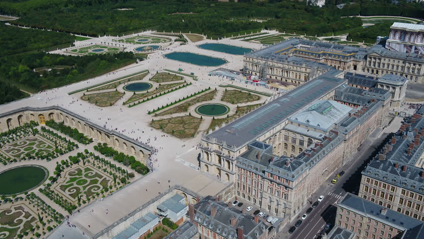 Aerial France Paris Versailles Gardens August 2018 Sunny Day 30mm 4K Inspire 2 Prores  Aerial video of Versailles Gardens in Paris on a sunny beautiful day.
