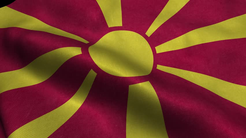 Photorealistic 4k Close up of macedonia flag slow waving with visible wrinkles and realistic fabric. 15 seconds 4K, Ultra HD resolution macedonia flag animation.