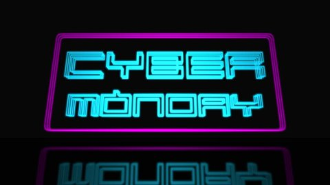 Cyber Monday Sale Neon Sign 3D Text Looping Animation, Neon Sign Frame Light Electric Banner Glowing On A Black Background - 4K Resolution Ultra HD