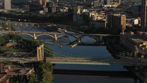 Aerial view of Minnesota's major city Minneapolis downtown city centre skyline