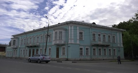 4K summer day video of vintage building of old Pozharskiy hotel in small holiday town Torzhok in Tver Oblast, half way between Moscow and Saint Petersburg, in Russia