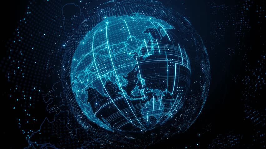 3d render abstract globe with detailed textures. Alot of particles. Countries borders are visible. Digital tech concept. Loopable sequence. | Shutterstock HD Video #1016218921