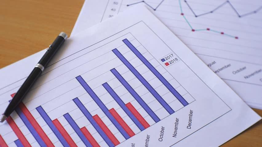 Business data graph chart drop down footage clip | Shutterstock HD Video #1016219551