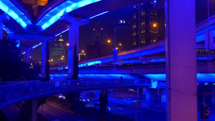 Night illuminated shanghai city traffic road junction panorama 4k china | Shutterstock HD Video #1016237851