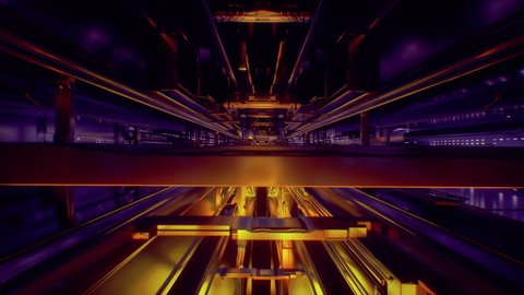 3d render, abstract urban background. Futuristic virtual reality motion graphic. Ultraviolet and orange neon light glow, geometric construction. Drone fly away. Loop at 2K resolution.