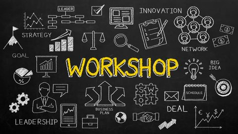 Handwriting typo, concept of  'WORKSHOP' at chalkboard. 4k animation.