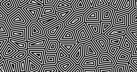 4K Abstract geometric background with an alpha channel. Thin lines move endlessly. Black and white kaleidoscopic seamless motion design for banner. Looped 10 sec  minimalistic animation