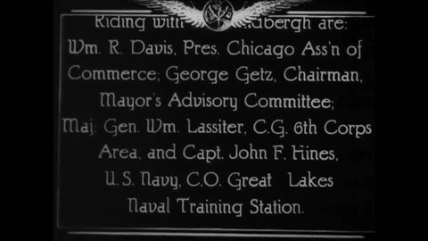 CIRCA 1927 - Mayor Thompson introduces Charles Lindbergh to a crowd in Chicago; Lindbergh then gives a speech.