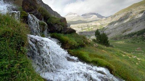 Ordesa y monte perdido National park, Huesca, Aragon, Spain. Crane shot, 4K, UHD
