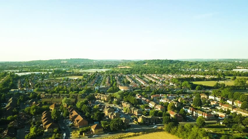 Aerial view of a suburban British town