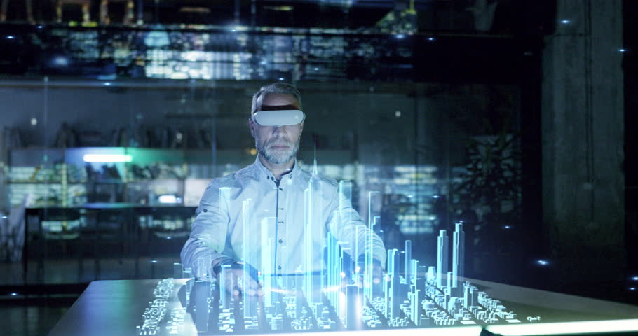 Male Professional Engineer Wearing Vr Glasses Creating Virtual Hologram City 3D Model Analyzing Data Future Technology Concept
