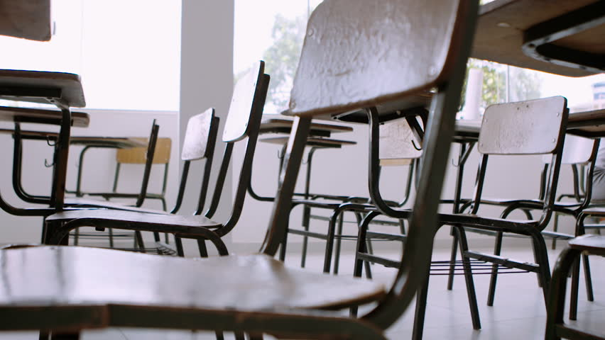 Wooden Chairs in School Classroom | Shutterstock HD Video #1016341501