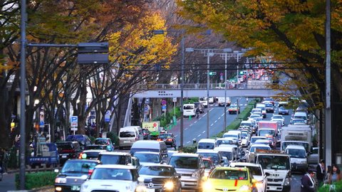 Cars run through among the autumn color tree lined Omotesando Street, and people cross the street at dusk at Jingumae, Shibuya Tokyo Japan on December 06 2017.