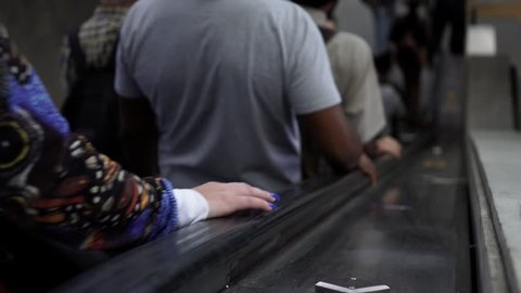 Rio de Janeiro, Brazil. 09,14,2018. Hands Close up of peoples going to work in town subway