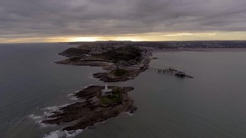 An aerial view of the Mumbles coastline in Swansea, South Wales, UK