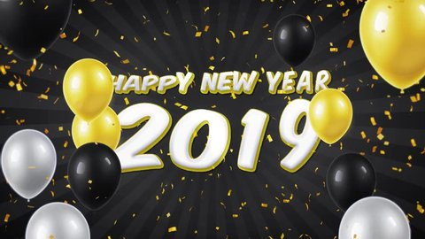 06. Happy New Year 2019 Text Appears on Confetti Popper Explosions Falling and Glitter Particles, Colorful Flying Balloons Seamless Loop Animation.