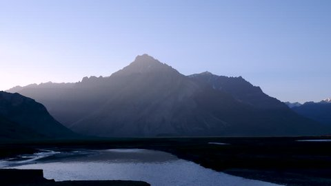 Nature and landscape twilight sunset of Zanskar Valley road on August in the Himalayas Ladakh, Leh, India.