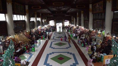 BAGO, MYANMAR - AUGUST 19, 2018 : The market area in Shwethalyaung Reclining Buddha in Bago, Myanmar