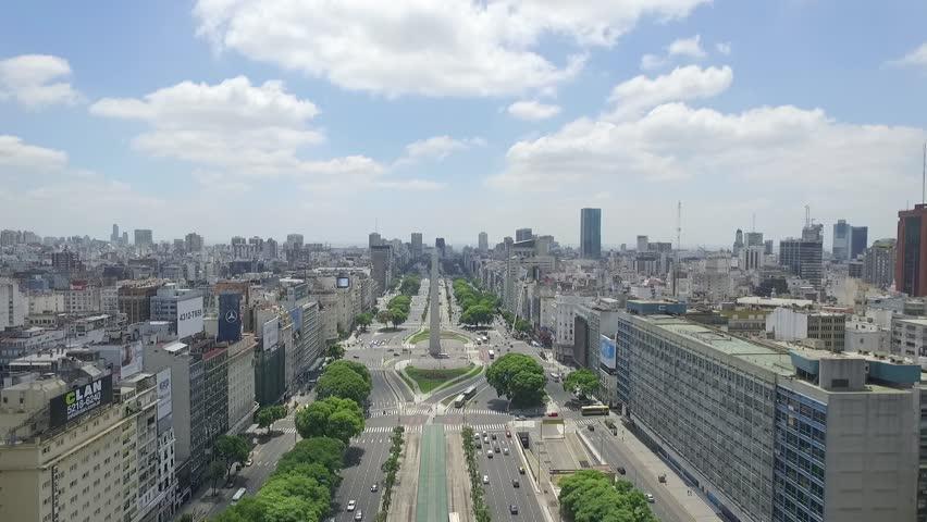 Ciudad de Buenos Aires, Buenos Aires, Argentina. April, 7, 2016. Obelisk, Iconic Monument Of Argentina. Drone View. The camera goes back on the Avenue 9 de Julio. City Landscape, Buildings