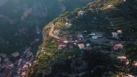 A magnificent aerial shot of the Ravello and Atrani cliff villages and the whole of the Amalfi coast.