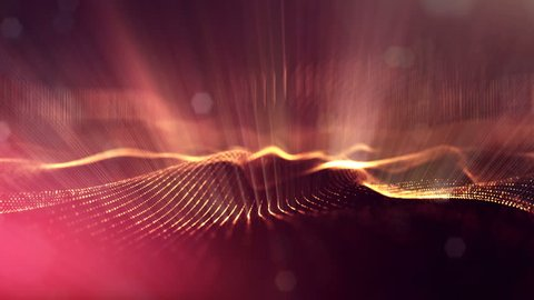 4k abstract background of glowing golden red particles with shining bokeh sparkles. Dark composition with oscillating luminous particles. Science fiction. Smooth animation looped. 14