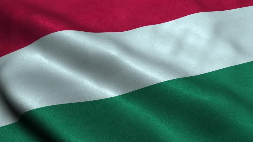 Photorealistic 4k Close up of hungary flag slow waving with visible wrinkles and realistic fabric. A fully digital rendering, 3D Animation. 15 seconds 4K, Ultra HD resolution hungary flag animation.