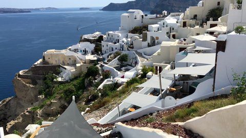 Oia in Santorini. The tourists love visiting this place in Santorini in Greece. Its a beautiful greek island and very popular with tourists and instagrammers