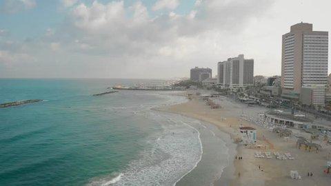 Tel Aviv beach 360 spin. Drone footage.