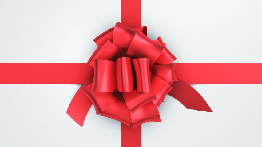 Opening Beautiful Gift Box With Ribbons and Big Bow. 5 videos in 1. Unpacking Gift 3d Animation Elements on Green Screen Alpha Channel. Untying Decorative Knot. 4k Ultra HD 3840x2160.