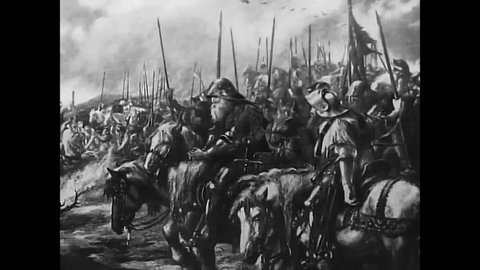 CIRCA 1960s - The Battle of Agincourt is shown in the Middle Ages as well as paratroops and a Blitzkrieg during World War 2 and a football game.