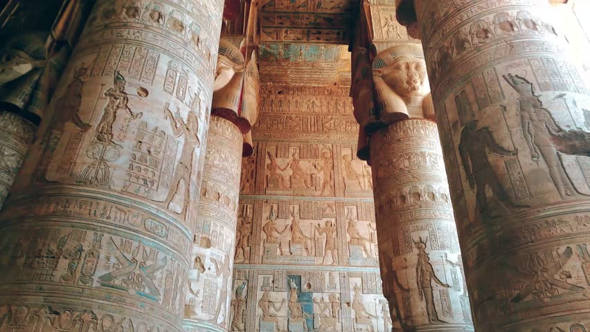 Beautiful interior of the Temple of Dendera or the Temple of Hathor. Egypt, Dendera, Ancient Egyptian temple near the city of Ken | Shutterstock HD Video #1016536531