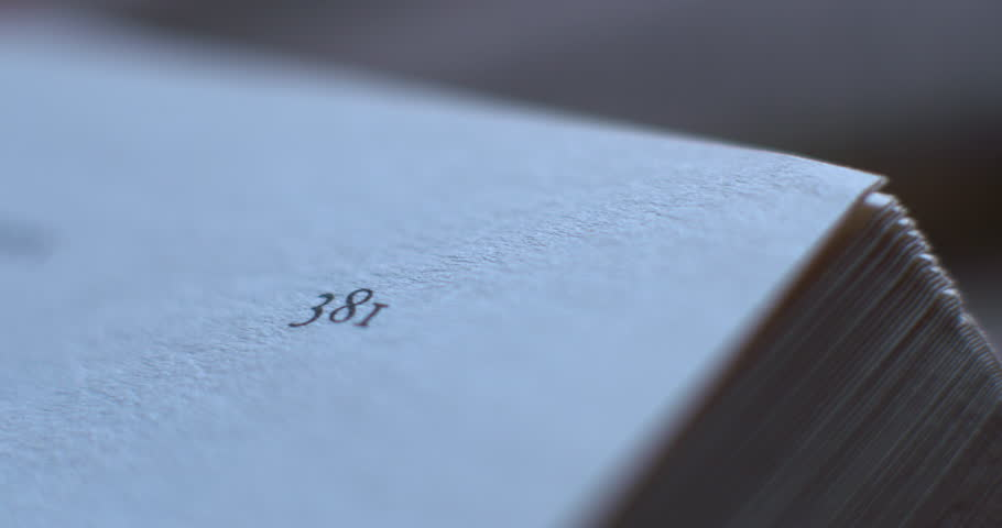 Book page number corners flick through macro close up