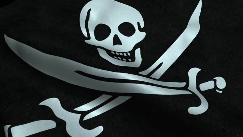 Photorealistic 4k Close up of Pirate flag slow waving with visible wrinkles and realistic fabric. A fully digital rendering, 3D Animation. 15 seconds 4K, Ultra HD resolution Pirate flag animation.