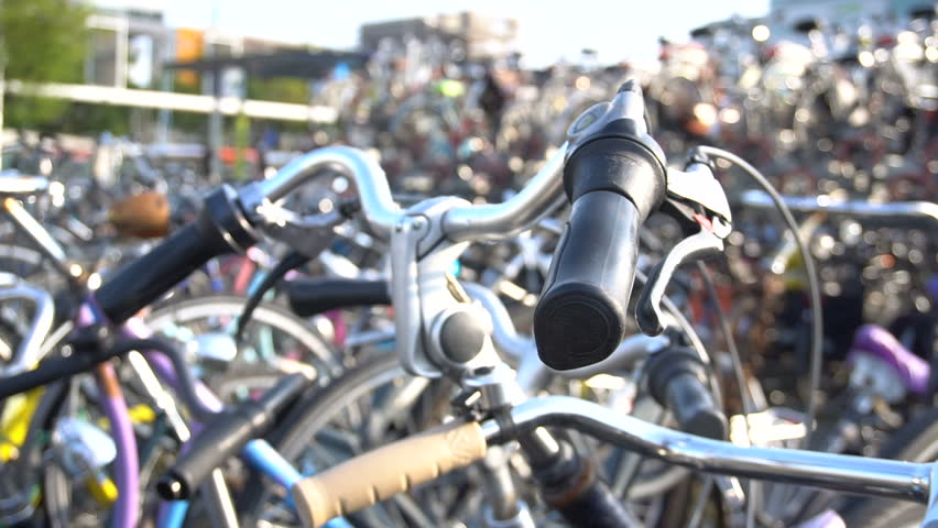 Parking for Bicycles in two levels at Eindhoven main Rail Station. Europe, Netherlands