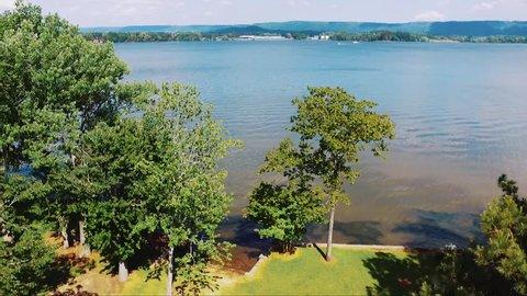 Daytime Drone Shot of Alabama Lake