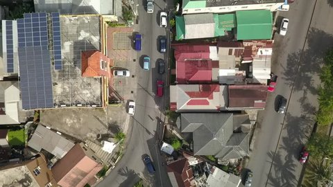 Port Antonio Jamaica Downtown Aerial Footage Bird view