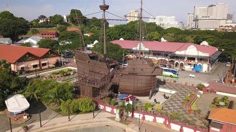 Aerial shot of Maritime Museum on a sail ship,Malacca City, Malaysia