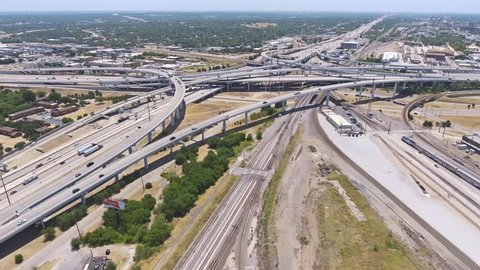 Aerial view of several highways intersecting Fort Worth Texas