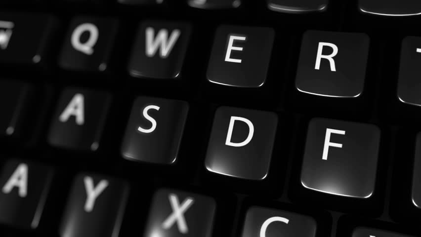 Data Management Moving Motion On Blue Enter Button On Modern Computer Keyboard with Text and icon Labeled. Selected Focus Key is Pressing Animation. Technology Security Concept