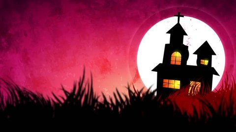 Halloween background animation with the concept of Spooky Pumpkins, Moon and Bats and Haunted Castle.