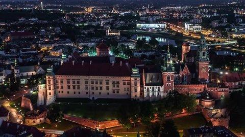 Establishing Aerial View of Krakow, Wawel, Royal Castle, Cracow, Poland, Polska